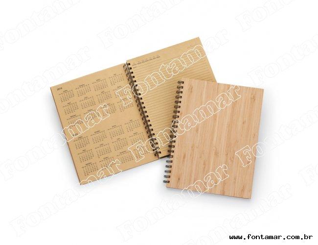 Caderno/Agenda Permanente Capa em Bambu