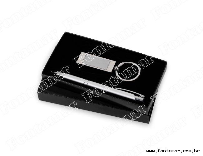 kit Escritório 2 peças chaveiro e caneta - Marcalaser