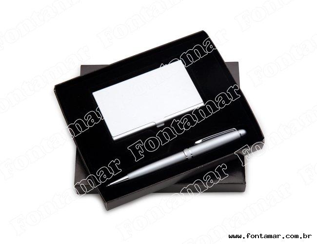 Kit Escritório com porta cartões e caneta - Marcalaser